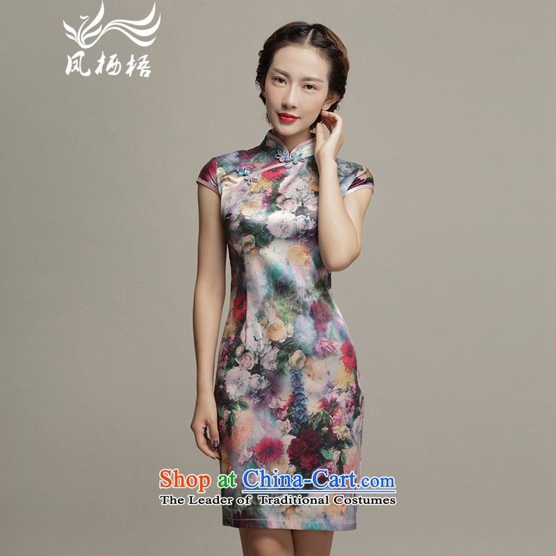 Bong-migratory 7475 spring_summer 2015, floral art new short Silk Cheongsam Sau San video herbs extract elegant qipao thin skirt DQ1572 Suit?M