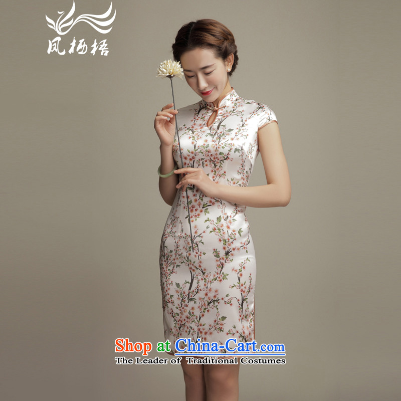 Bong-migratory 7475 2015 summer flowers Silk Cheongsam elegant beauty retro herbs extract short-sleeved cheongsam dress DQ1573 SUIT?XXL