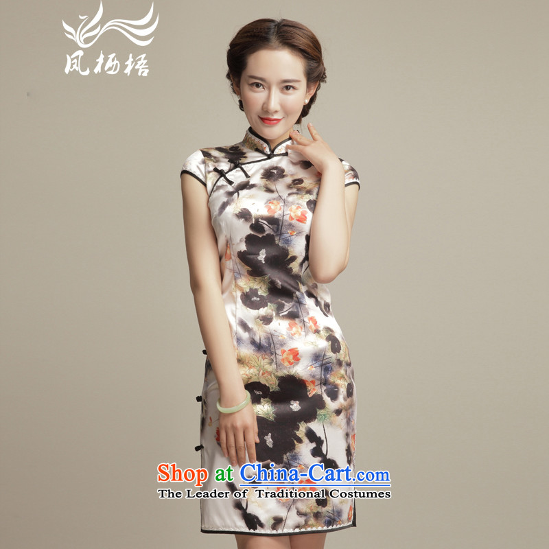 Bong-migratory 7475 Huai-yu retro silk cheongsam?look like the new summer 2015 Sau San herbs extract stylish qipao DQ1580 skirt suits?XXL