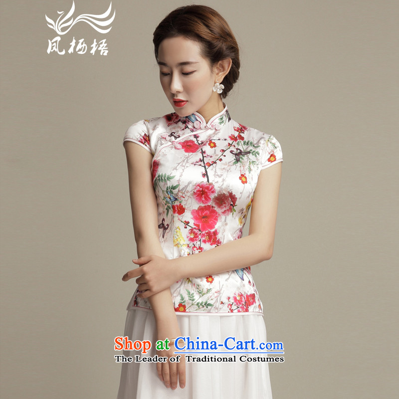 Bong-migratory 7475 Color Xuan Silk Tang blouses retro elegant beauty short-sleeved T-shirt qipao Chinese herbs extract DQ1581 SUIT?L