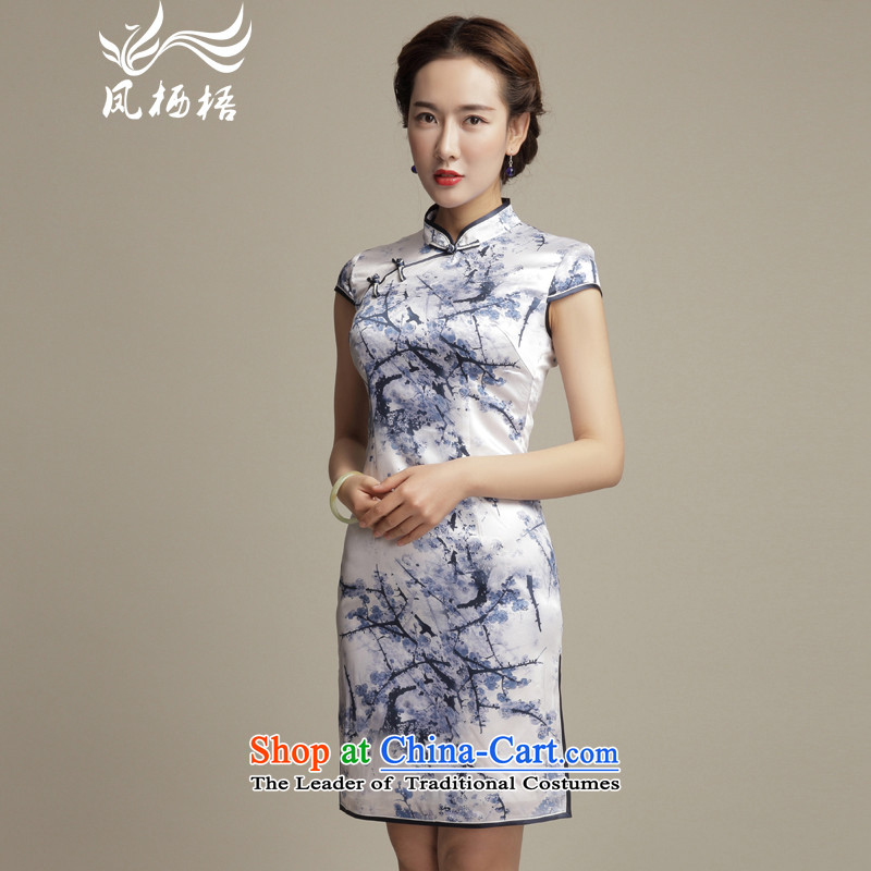 Bong-migratory 7475 deplored the new summer of 2015 MUI Silk Cheongsam daily retro Sau San stamp cheongsam dress DQ1582 Suit燤