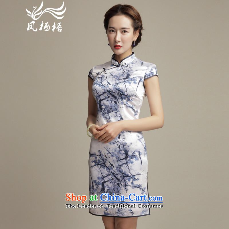 Bong-migratory 7475 deplored the new summer of 2015 MUI Silk Cheongsam daily retro Sau San stamp cheongsam dress DQ1582 Suit?M