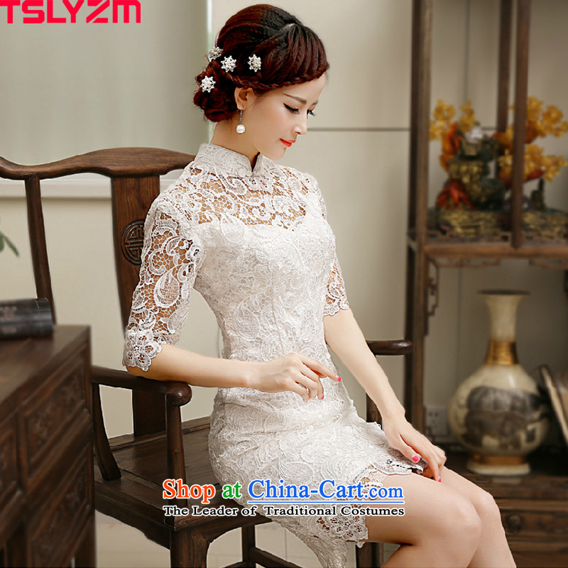 Improved cheongsam dress daily tslyzm water-soluble lace white Sau San video thin dresses 2015 dulls the new new products in short-sleeve (C S