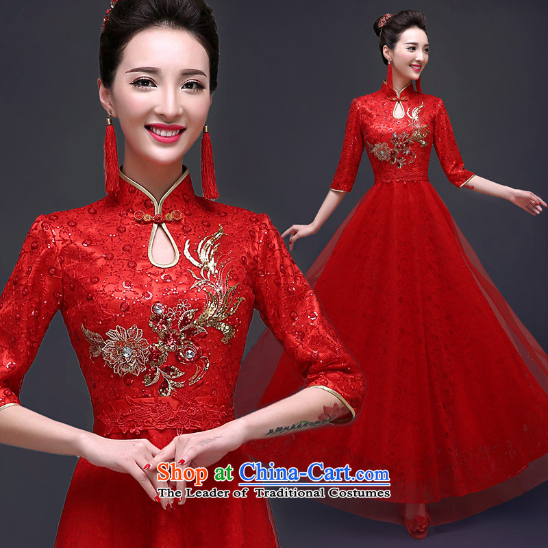 The privilege of serving the new 2015-Leung Chiu qipao bows service Chinese long red summer Sau San bride wedding dress red聽S
