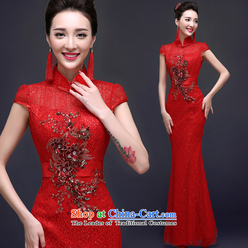 The privilege of serving the new 2015-Leung Chiu-red bride wedding dress long summer of Chinese qipao toasting champagne crowsfoot services red燬