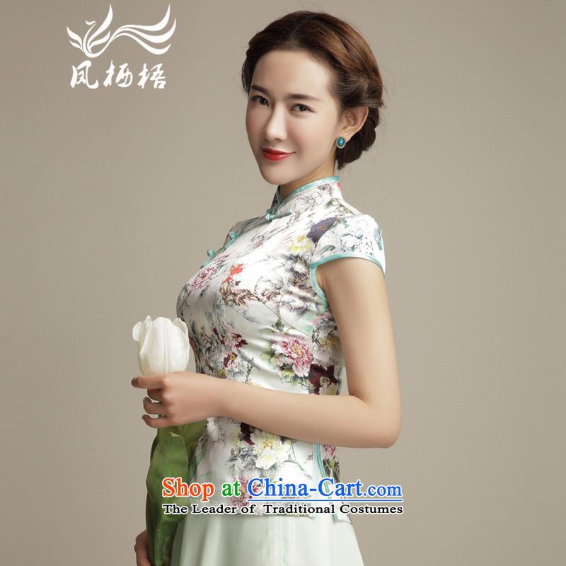Bong-migratory 7475 Ms. style silk Tang blouses ethnic stamp short stylish shirt DQ1584 T-shirts qipao lightXL