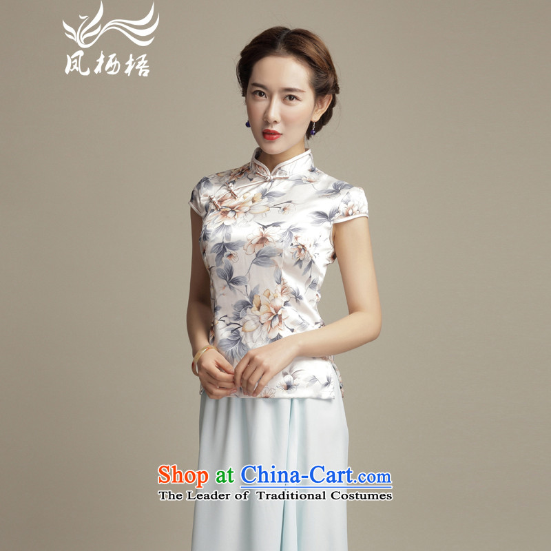 7475 Flower of Fung migratory elegant emulation silk Tang blouses�15 summer short of New Sau San qipao DQ1585 shirt Suit燤