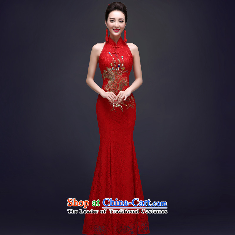 The privilege of serving the new 2015-Leung Chiu qipao bows services red Chinese long crowsfoot bride Summer Wedding Dress RED M