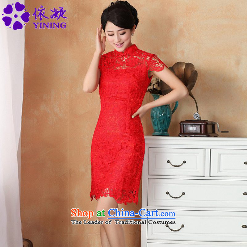 In accordance with the new fuser for women retro improved Tang dynasty qipao pure color engraving short-sleeved Sau San Tong replacing cheongsam dress costumes WNS/2365# - 3 RED M