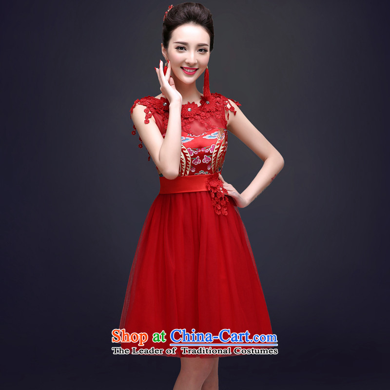 The privilege of serving the new 2015-Leung Chiu-red bride Wedding Dress Short of Sau San Chinese qipao bows services for summer Red聽2XL