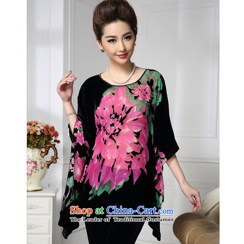 Forest narcissus spring and autumn 2015 install new bat sleeves wide sleeves nails Tang Dynasty Mother of Pearl River Delta with Silk Cheongsam stitching herbs extract lint-free t-shirt color picture HGL-490 XL