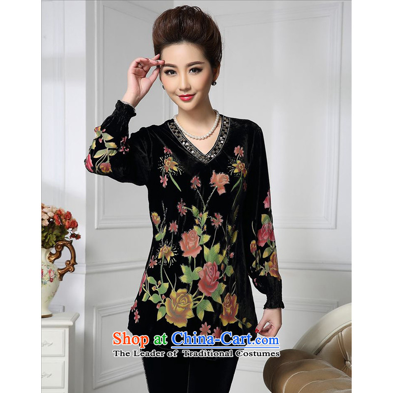 Forest narcissus spring and autumn 2015 install new liberal V-neck rose Tang dynasty MOM pack silk stitching herbs extract lint-free t-shirt color picture?XXXXL HGL-480