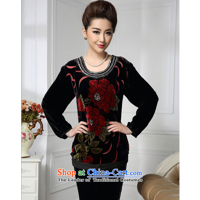Forest narcissus spring and autumn 2015 install new retro safflower under the Tang dynasty wrinkled silk load mother stitching herbs extract lint-free t-shirt color picture?XXXXL HGL-477
