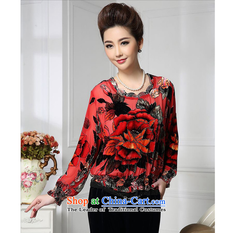 Forest narcissus spring and autumn 2015 on new waves under the neckline cuffs creases Tang dynasty mother replacing silk stitching herbs extract lint-free t-shirt color picture HGL-472?XL