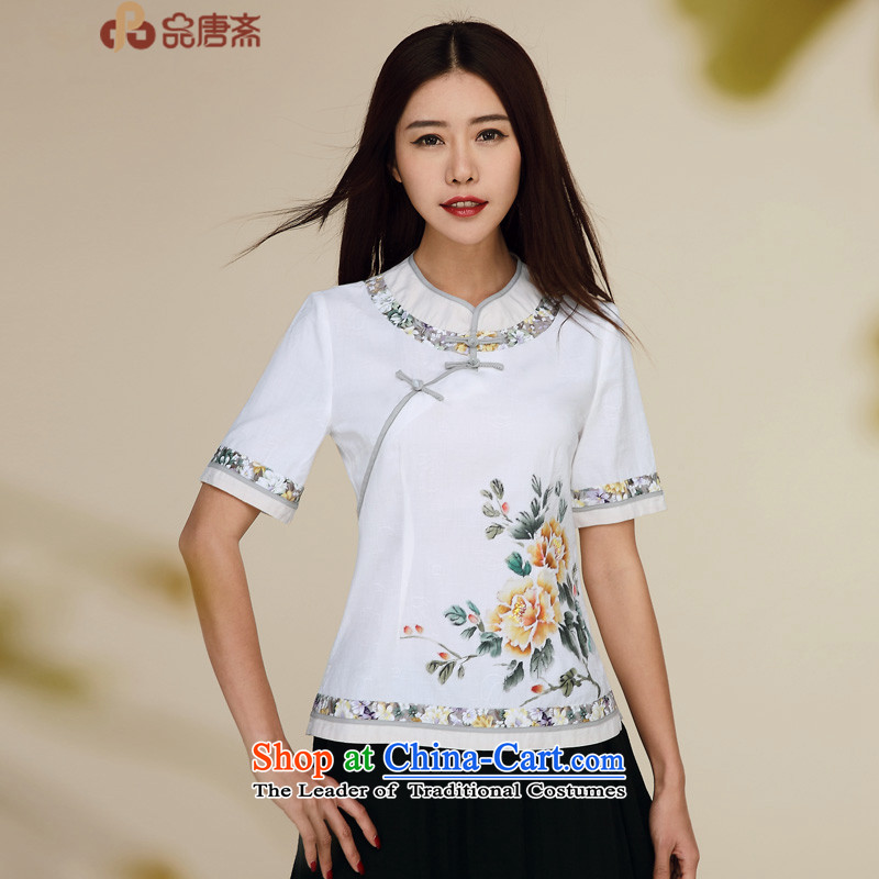 No. of Ramadan new summer, Tang 2015 ethnic short-sleeved cotton linen retro improved Chinese qipao Sau San shirt pre-sale 5 15 White聽M
