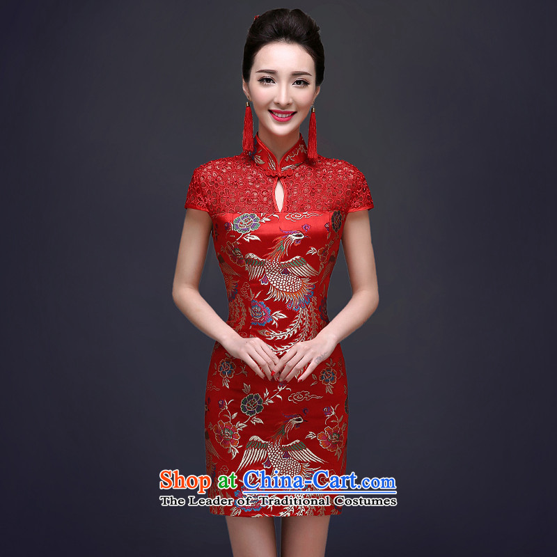 Red high toasting champagne served the bride wedding dress fall short of Qipao Chinese female short-sleeved wedding gown Tang Red燣