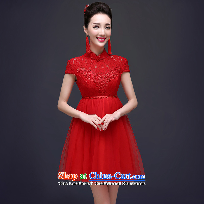 The privilege of serving-leung 2015 Service the summer and fall of toasting champagne bride Top Loin of red Chinese dresses qipao summer marriage pregnant women RED M