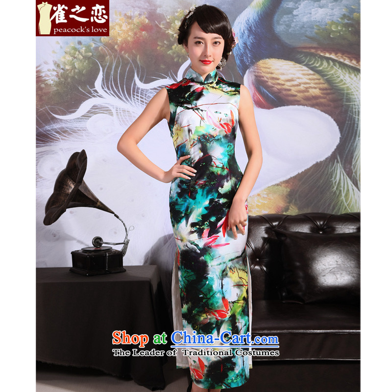 Love of birds Pik-color at?2015 new summer cheongsam dress silk cheongsam dress retro long QD695 Pik-color her eerily sleeveless?XXL