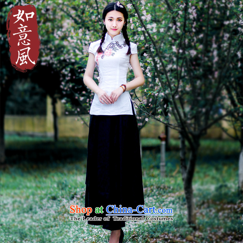 After a day of wind jacket for summer Ms. qipao improved stylish China wind Tang Dynasty Chinese women of ethnic�27 White燲XL