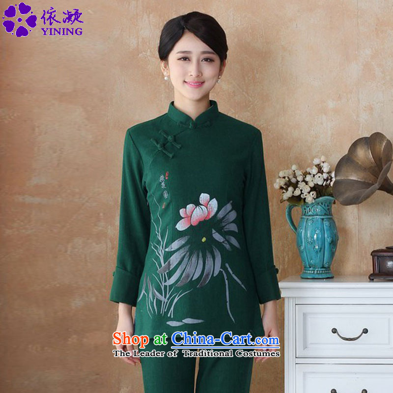 In accordance with the new fuser for women of nostalgia for the sheikhs wind Tang dynasty qipao gown is a mock-neck disc button hand-painted classic long-sleeved blouses Sau San Tong燱NS_2508_ -3_ M