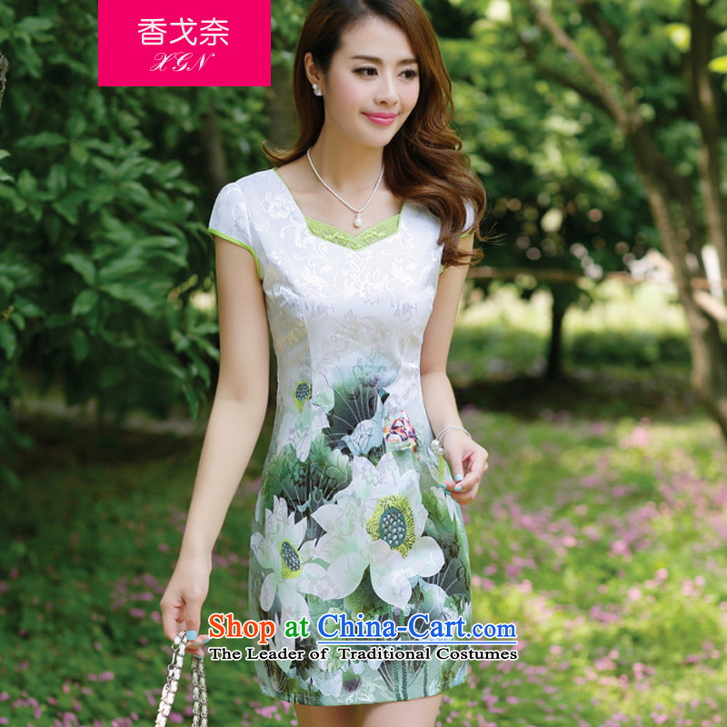 The 2015 Summer Scent Golan New China wind dresses pure color qipao round-neck collar improved solid cheongsam dress retro green?XL