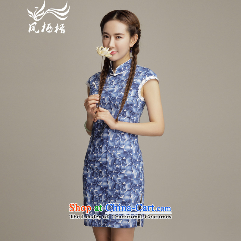 Bong-migratory 7475 flowers to retro style cotton linen dresses and sexy beauty routine stylish cheongsam dress DQ1592 BLUE S