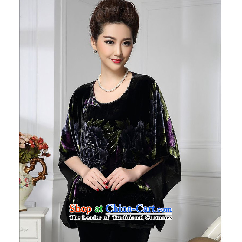 Forest narcissus spring and autumn 2015 install new loose sleeves bat sleeves Large Tang dynasty mother replacing silk stitching herbs extract lint-free t-shirt color picture?XXXXL HGL-462