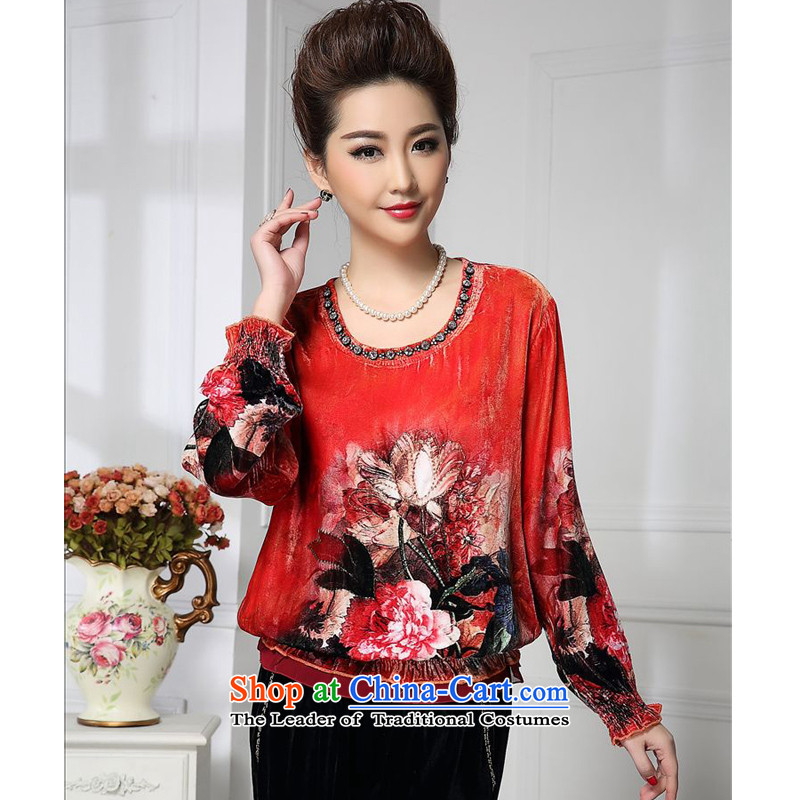 Forest narcissus spring and autumn 2015 install new liberal Orange Red commuter elegant Tang dynasty mother boxed silk stitching herbs extract lint-free t-shirt HGL-461 Orange Red燲XL