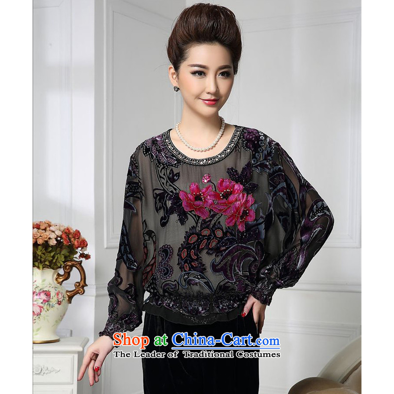 Forest narcissus spring and autumn 2015 Install New Pearl flower embroidery nails aubergine loose Tang dynasty mother boxed silk stitching herbs extract lint-free t-shirt color picture?XXXXL HGL-455
