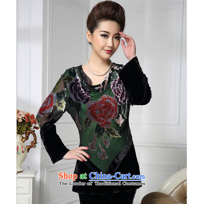 Forest narcissus spring and autumn 2015 install new green loose chiffon cloth backing elegant Tang dynasty mother boxed silk stitching herbs extract lint-free t-shirt color picture HGL-442?XXL