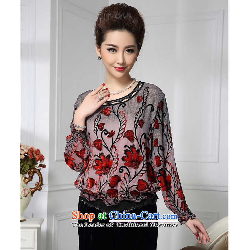 Forest narcissus spring and autumn 2015 install new liberal gradients curled red floral Tang dynasty MOM pack silk stitching herbs extract lint-free t-shirt color picture HGL-437?XL