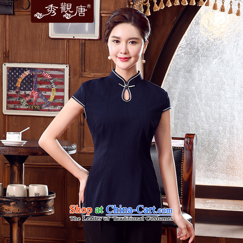 -Sau Kwun Tong- Arran Summer 2015 Ms. Tang dynasty new clothes Chinese female improvement qipao TD5332 replacing Dark Blue?M