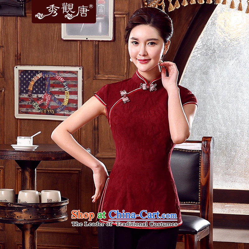 -Sau Kwun Tong- Following 2015 Summer yen Tang Tang dynasty blouses, improved Chinese BLOUSES BOURDEAUX聽XL