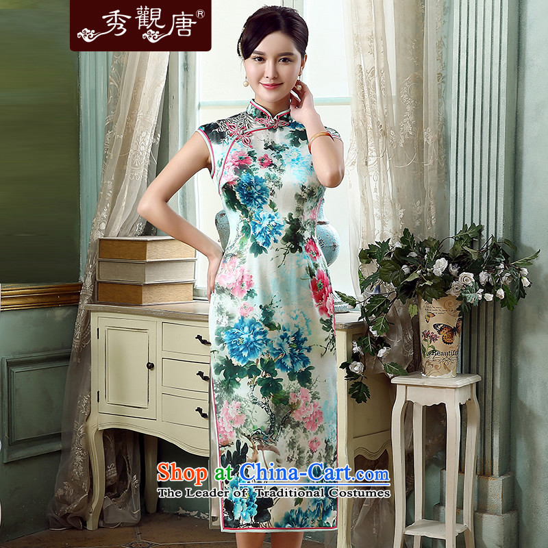 -Sau Kwun Tong- drunken Mudan 2015 Summer upscale Silk Cheongsam retro herbs extract improved qipao QD5315 SUIT燣