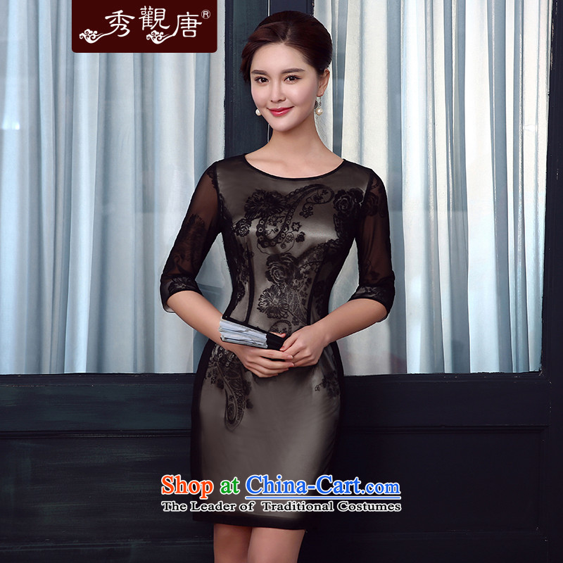 -Sau Kwun Tong- Quiet Nights lace flocking in cuff qipao Summer 2015 new antique dresses KD5336 black燤