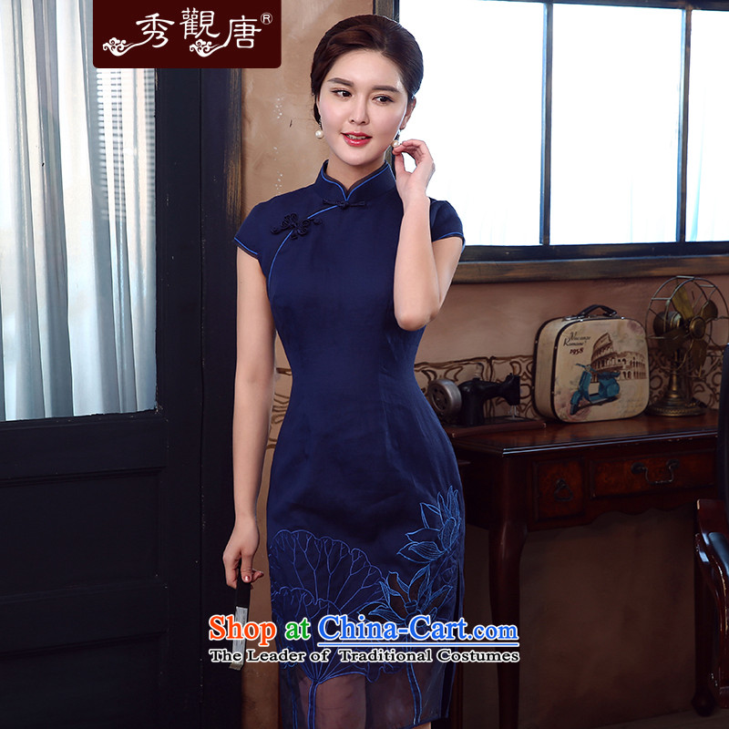-Sau Kwun Tong- Ngan summer 2015, I should be grateful if you would have the new solid cheongsam embroidery stitching improved dresses QD5341 BLUE?XL