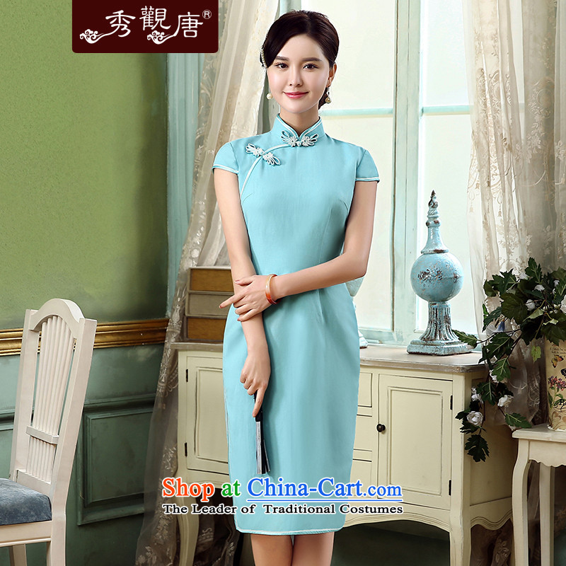 [Sau Kwun Tong] Yim Days 2015 Summer new pixel color cotton linen dresses retro improved linen dresses QD5319 SKYBLUE�S