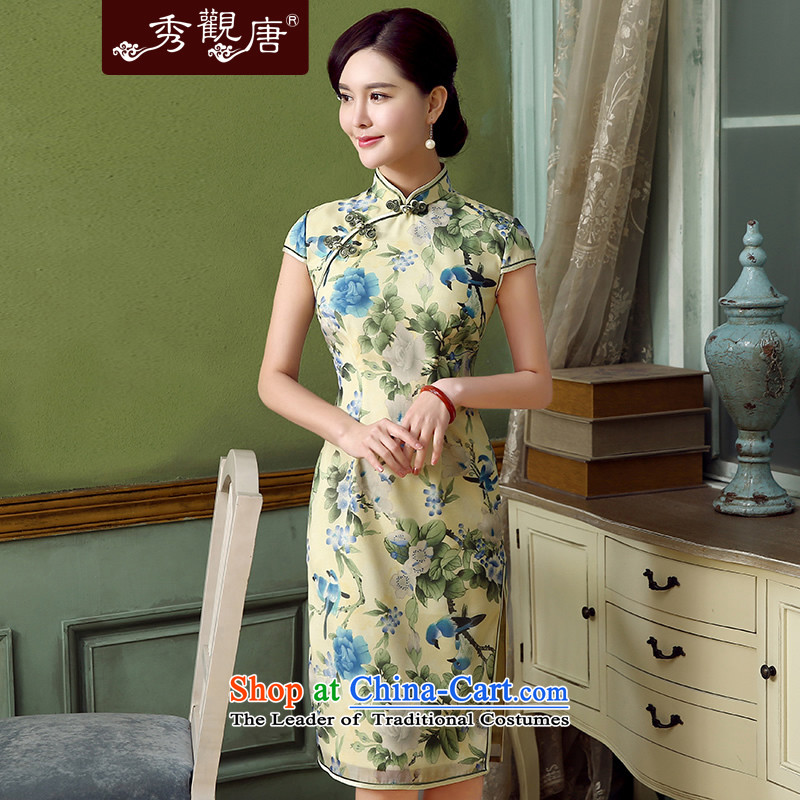 -Sau Kwun Tong- Hong Kong Film retro stamp qipao skirt for summer 2015 new improved stylish dresses QD5321 SUIT聽S