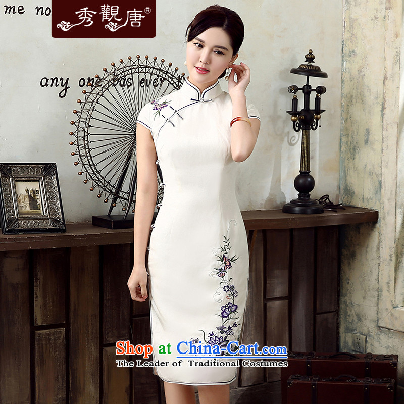 [Sau Kwun Tong] Zi 2015 High Population Commission voight qipao summer new improved cheongsam dress QD5308 retro white?S