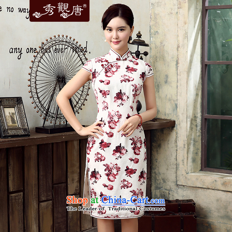 [Sau Kwun Tong] Zi 2015 Summer Lok new cotton linen dresses retro style qipao QD5302 stamp improved red S