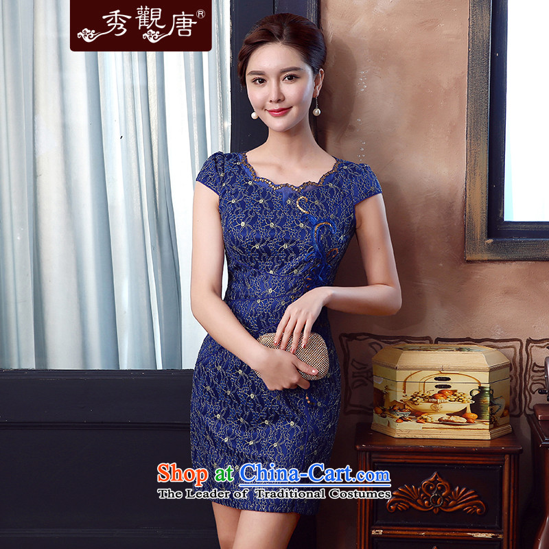-Sau Kwun Tong- world on summer 2015 new composite lace sexy retro women's dresses blue聽S