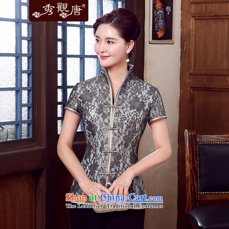 -Sau Kwun Tong- Emily Mr Ngan New 2015 composite lace Tang Women's clothes, Ms. Tang blouses TD5331 SUIT燲XL