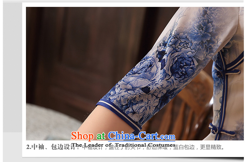 [Sau Kwun Tong] innuendos Summer 2015 new upscale Silk Cheongsam retro herbs extract cheongsam dress QZ5105 blue and white M picture, prices, brand platters! The elections are supplied in the national character of distribution, so action, buy now enjoy more preferential! As soon as possible.
