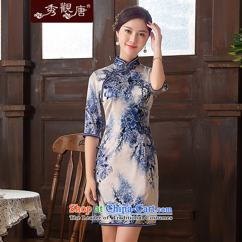 -Sau Kwun Tong- innuendos Summer 2015 new upscale Silk Cheongsam retro herbs extract cheongsam dress QZ5105 blue and white?M
