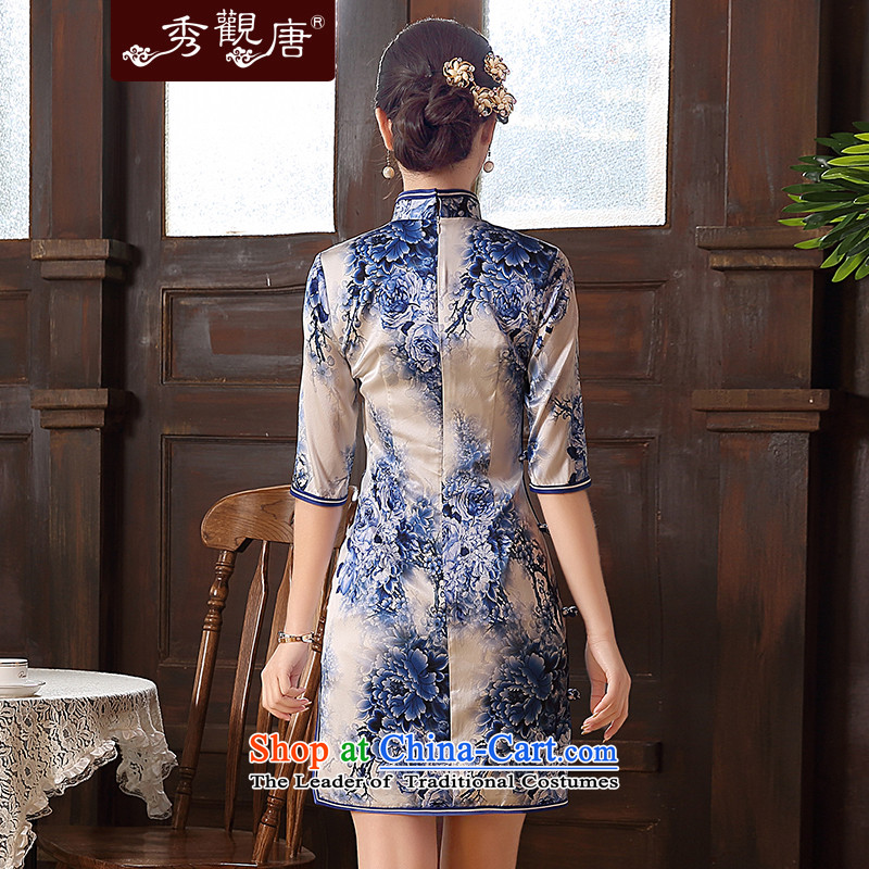 [Sau Kwun Tong] innuendos Summer 2015 new upscale Silk Cheongsam retro herbs extract cheongsam dress QZ5105 blue and white M, Sau Kwun Tong shopping on the Internet has been pressed.
