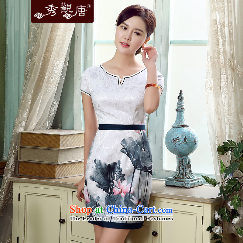 -Sau Kwun Tong- Hiu retro stamp cheongsam dress I should be grateful if you would arrange for summer 2015 new improved stylish dresses gentle mother replacing suit XXL