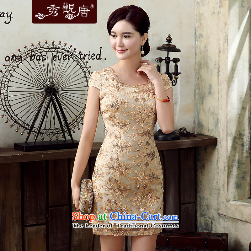 -Sau Kwun Tong- of the party for summer 2015 new retro women's dresses stylish qipao skirt KD5149 improved apricot燲XL