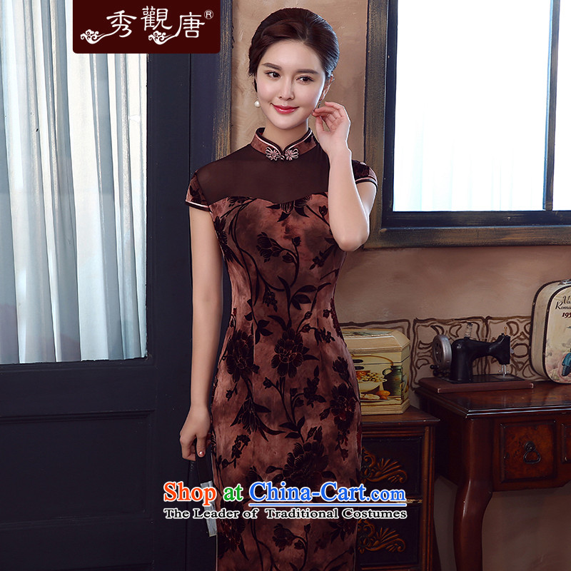 -Sau Kwun tong- the 2015 Summer Scent new improvements in the stylish long QIPAO_ retro cheongsam dress QD5337 BROWN燬