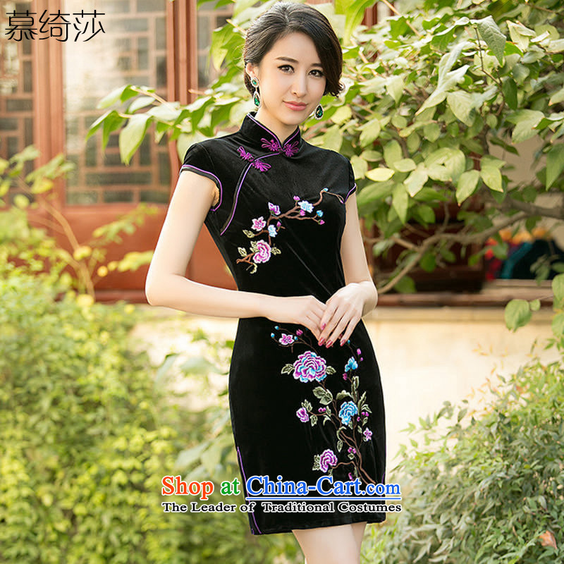 The cheer her smoke and clouds聽new embroidery improvements 2015 daily scouring pads in the replica of the elderly qipao cheongsam dress cheongsam dress聽ZA 074聽Black聽M