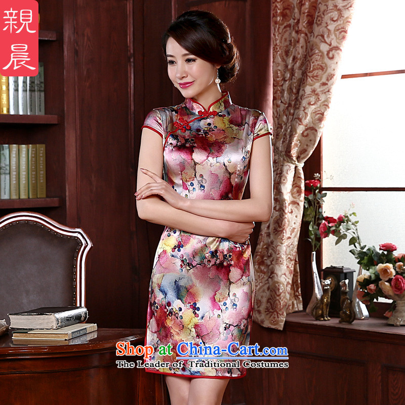 At 2015 new pro-silk cheongsam dress dulls retro herbs extract routine cheongsam dress improved stylish Red�L